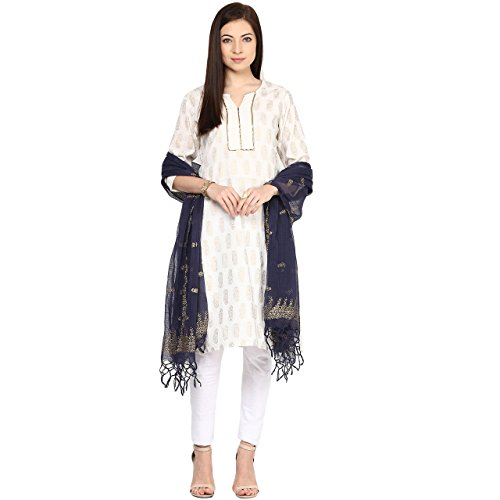 Rangmanch By Pantaloons Womens Cotton Dupatta Indigo