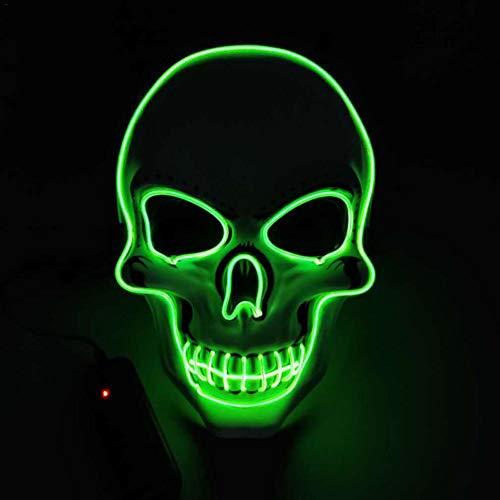 Halloween Masken Horror leuchtende Maske kaltes Licht Ghost Party Maske Halloween Rolle Dress Up Coole Maske für Kostüm Party Cosplay Performances Halloween Parteien Karneval Weihnachtsdekoration (Namen Für Halloween Kostüm Parteien)