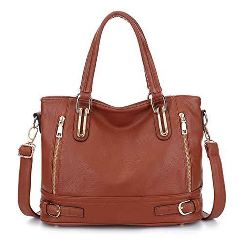 Schlanken Körper Wickeln (Handtasche Damen Schulter Diagonal Tasche, Weiche PU Leder Schlanke Minimalistische Große Kapazität Damen Tasche (Color : Brown, Size : M))
