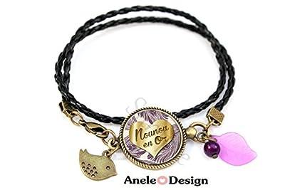 Bracelet Nounou en Or - violet noir cabochon - oiseau perle violette