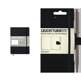 Leuchtturm1917 324804 Medium Notizbuch (A5, Softcover, Dotted) 121 Seiten schwarz & 304637 Stiftschlaufe (15 mm elastische Schlaufe, selbstklebend, 40 x 40 mm) schwarz
