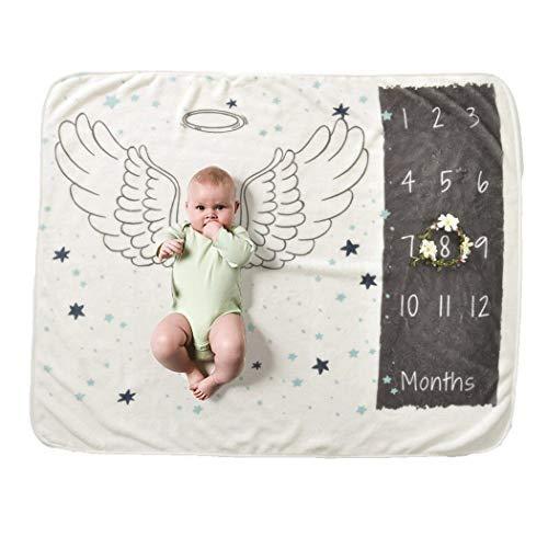 Wekold Baby Cartoon gedruckt Fotografie Hintergrund weiche Baby Meilenstein Decke Zubehör 70 x 102 cm / 27,6 x 40,2 Zoll