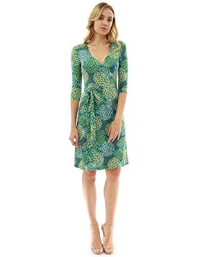 PattyBoutik Damen geometrisches Faux wrap Sonnenkleid mit V-Ausschnitt (dunkel türkis, grün und gelb 19 L 42/44)