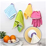 Self Adhesive Kitchen & Bathroom Towel Hook for Towels Rubber Gloves Cloth Duster Mitts - Orange
