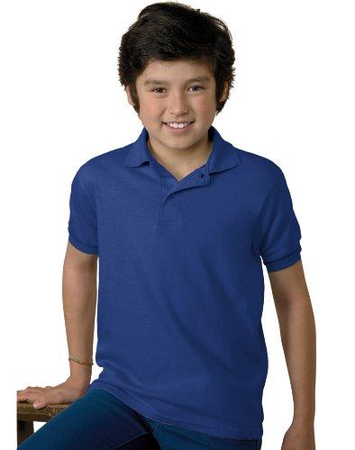Jugend Kurzarm Stricken Tag-Free Label Polo Jersey, tief Royal, klein