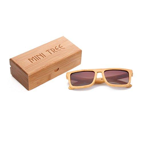 Mini Tree Vintage Bambus Sonnenbrille Polarisiert Sonnenbrille Bambus Damen Herren Sonnebrille Herren Holz 100% UV400 Schutz Outdoor Brille mit Etui Gross (Tee) ...