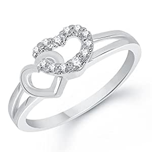 VK Jewels Adored Togetherness Heart Rhodium Plated Ring- FR1337R Size 16 [VKFR1337R16]