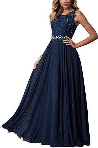 CLLA dress Damen Chiffon Spitze Abendkleider Elegant Brautkleid Lang Festkleid Ballkleider(Navy Blau,36)