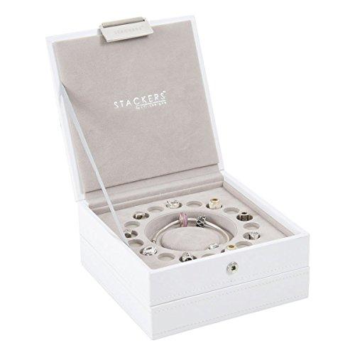 Stackers jewelry box | bianco e grigio velluto fascino stacker set