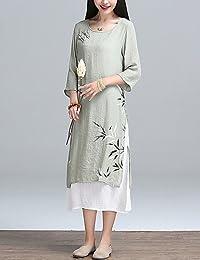 ZLL Courte Robe Femme Décontracté / QuotidienCouleur Pleine Fleur Col Arrondi Midi Manches Longues Coton Lin Printemps Eté Taille Normale , 2xl