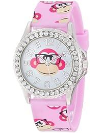 Frenzy Kids' FR803B Monkey Print Pink Analog Children's Watch
