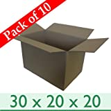 """10 x Large Strong Removal Cardboard Boxes - Double Wall - 30"""" x 20"""" x 20"""" / 762mm x 508mm x 508mm"""