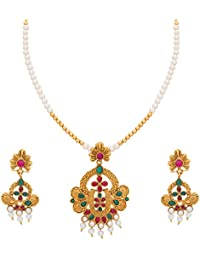 The Luxor Gold Plated Jewellery American Diamond Pearl Long Haram Mala Necklace Set For Women And Girls
