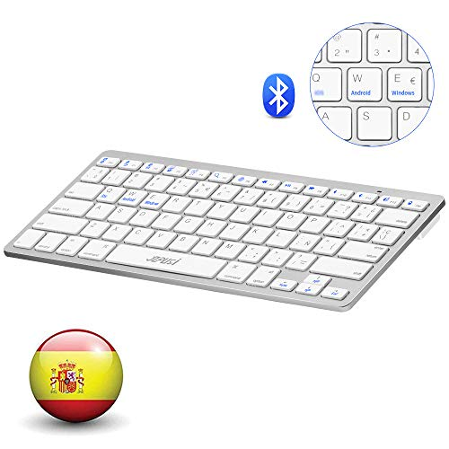 YZPUSI Bluetooth 3.0 Inalámbrico Wireless Teclado, Ultra Slim y Ligero Teclado Compatible with Tablet, Smartphone, Portable Teclado with Cubierta para, Android