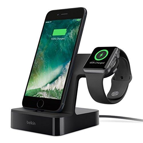 Belkin - Base de carga para Apple Watch y iPhone, carga magnética, conector lightning, color negro