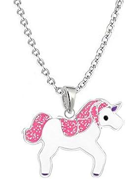 GH* Glitzer Pink Einhorn ANHÄNGER + KETTE 925 Sterling Silber Mädchen Kinder Pferd /ch08