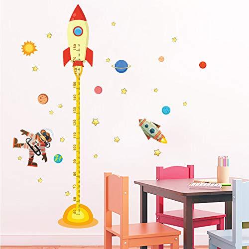 dasdjjhbh Weltraum Planet Monkey Pilot DIY Rakete Abziehbild Höhe Maßnahme Wandaufkleber Für Kinderzimmer Baby Kinderzimmer Wachstum Diagramm Geschenke