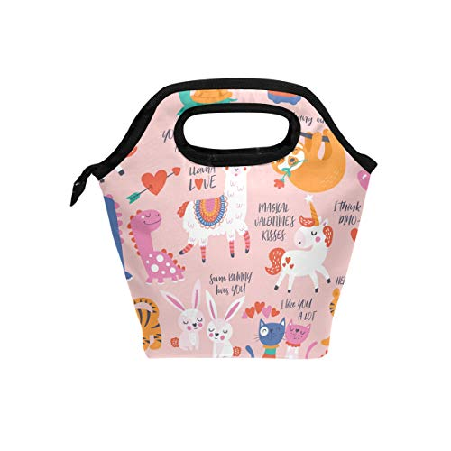hpaket Valentine's Day with Cute Animals Lunch Tote Reusable Cooler Bag Organizer Portable Reusable Lunch Tote ()