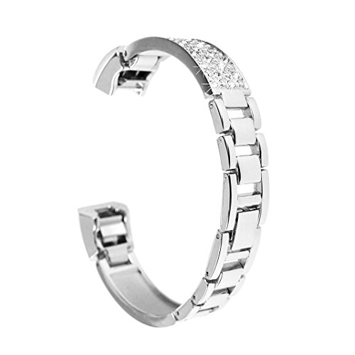 Für Fitbit Alta Armband Diamant, Rosa Schleife Smart Watch Band Edelstahl armbänder Wrist Strap Uhrenarmband mit Metallschließe Schnalle Ersatzarmband für Fitbit Alta HR Fitness Armband Silber