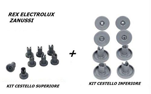 Rex Electrolux Zanussi Set mit 16Rollen für Ober- und Unterkorb von Spülmaschinen