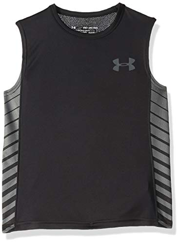 Under Armour Jungen Mk1 Sleeveless Tee Top, Black (001)/Pitch Gray, Youth X-Large - Under Armour Sleeveless Tee