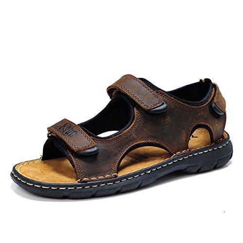 Zjm-sandalo sportivi da uomo sandali sportivi da uomo in morbida pelle di vera pelle antiscivolo marrone confortevole (dimensioni : 48)