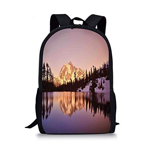School Bags Lake House Decor,Snow Capped Mt Shuksan and Lake at Sunset Evening View National Forest Washington,Yellow Purple for Boys&Girls Mens Sport Daypack -