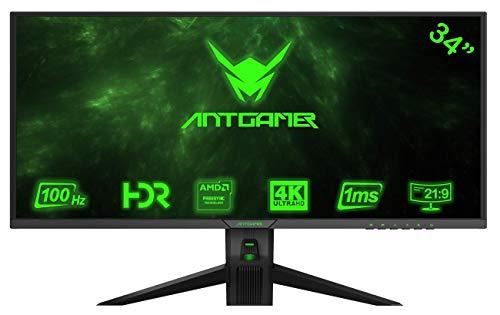 ANTGAMER Gaming M34G5Q 86,36 cm (34 Zoll) R1800 Curved Monitor UWQHD, 1ms Reaktionszeit, HDMI,DVI,DisplayPort, 100Hz, 3.440 x 1.440 Pixel, Free-Sync schwarz