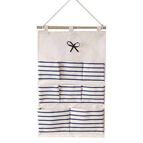 Laixing Linen/Cotton Fabric Wall Door Closet Hanging Storage Bag Organizer G8-9