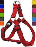 DDOXX Hundegeschirr Step-In Premium Nylon | für große, mittelgroße, mittlere & kleine Hunde | Geschirr Hund | Katze | Brustgeschirr | Softgeschirr | Zubehör | Rot, M - 2,0 x 53-77 cm