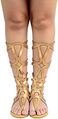 ODEMA Mujer Romano recortado rodilla Tiras Gladiador Sandalias