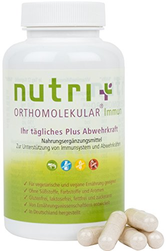 IMMUNSYSTEM STÄRKEN mit Nutri-Plus Orthomolekular Immun - Orthomol. pflanzliche Vitalstoffe zur Stärkung der Abwehrkräfte - 120 Vitamin-Kapseln - In Deutschland hergestellt (Kinder Immun Vitamine)