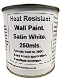 1 x 250ml Satin White Heat Resistant Wall Paint. Wood Burner Stove Alcove. Brick, Concrete, Plaster, Cement Board, Rendering, Metal, Timber etc.