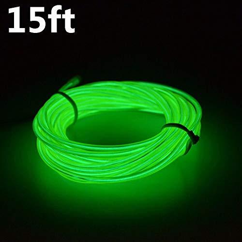 Neon-LED-Leuchtstoffröhre, flexibel, EL Draht, 360 ° hell, wasserfest, LED-Lichtband, für Halloween, Weihnachten, Auto-Partys, Hochzeiten, Outdoor-Dekoration, mit Batterie-Controller 15ft grün