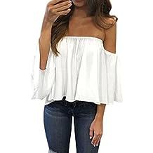 Camisas Mujer, ❤️Xinan Camiseta de Manga Larga para Mujer Blusa Casual con Hombros Descubiertos