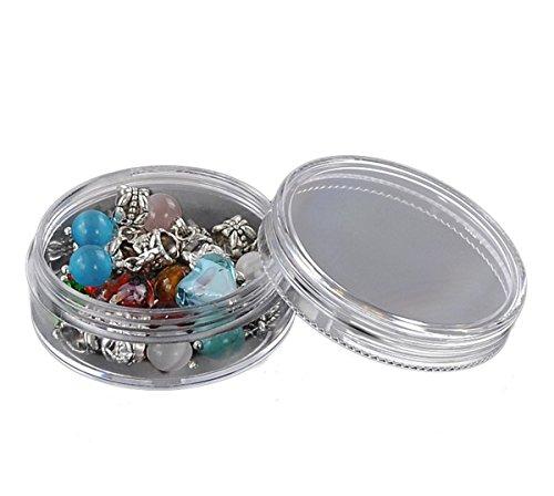 HOUSWEETY 8 Boites de Rangement Rond Plastique Transparent pour Perles 5 x 5 x 2.1cm