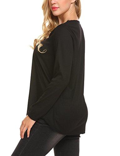 Modfine Damen Bluse Blusenshirt Langarmshirt T-Shirt Casual Elegant Oberteile Frauen V-Ausschnitt Top Schwarz Blau Weinrot Schwarz