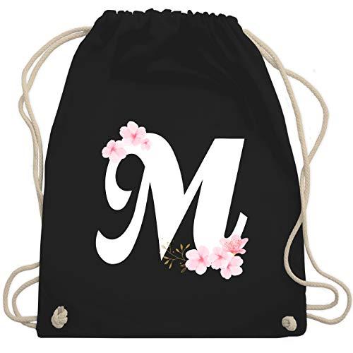 Beutel Kostüm M&m - Anfangsbuchstaben - Buchstabe M mit Kirschblüten - Unisize - Schwarz - WM110 - Turnbeutel & Gym Bag