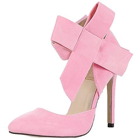 HooH Femmes Escarpins Stiletto bout pointu Velcro Sexy D'orsay Bowknot