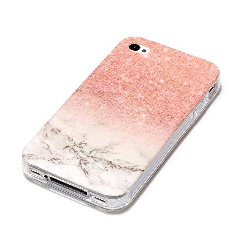 iPhone 4 Case,iPhone 4S Hülle - Felfy Apple iPhone 4/4S Ultra Slim Ultradünn Case Soft Gel Flexibel TPU Silikonhülle mit Bling Sternchen Gradient Farbe Design Protective Scratch Resistant Bumper Case  Marmor Rosa-Weiß