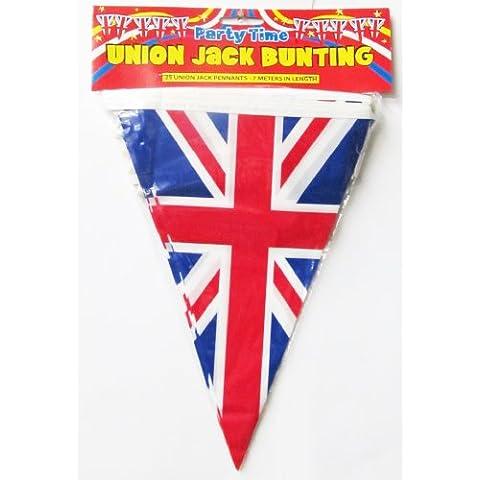 Guirnalda de 25 banderas del Reino Unido triangulares colgantes, 7 m de largo