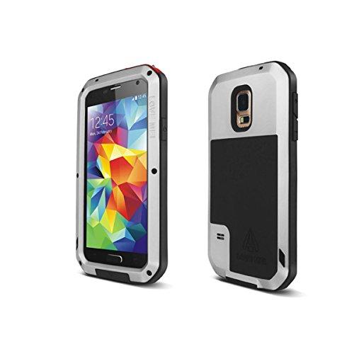 Alienwork Schutzhülle für Samsung Galaxy S5 Stoßfest Hülle Case Bumper spritzwasserfest Staubdicht Schneedicht Metall silber SI9600D-02