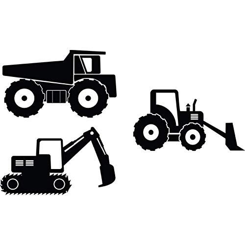 onstruction Ausrüstung Wandtattoo-Happy Crane Truck Cartoon Aufkleber Set von 3 BAU Bagger Vinyl Wall Art Decals 214 * 42cm