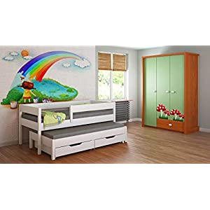 Children's Beds Home Trundle Bed For Kids Children Juniors No Drawers and No Mattress Included (180x80, White)   10