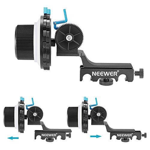 Neewer A-B Stopp Folge Fokus mit Schnellwechselplatte und Zahnrad-Ring Gürtelhalterung für DSLR-Kameras Camcorder, Passend für Schulterstützen, Stabilisatoren, Film-Rigs, Alle 15mm Stabhalterungen