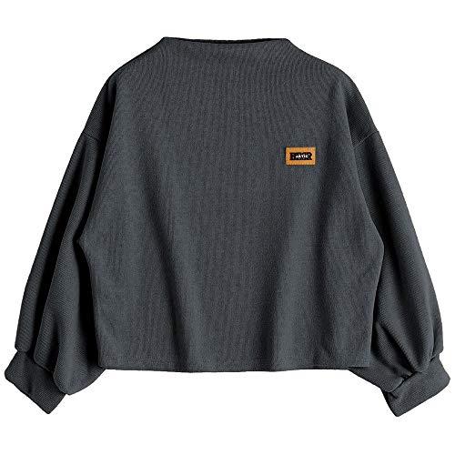 FRAUIT Sweatshirt Damen Normallack-Lange Hülsen-Kasten-Buchstabe-Applikations-Runde Kragen-Rollkragen-Sweatshirt-Jacke Crop Tops Pullover Kleidung Coat Bluse