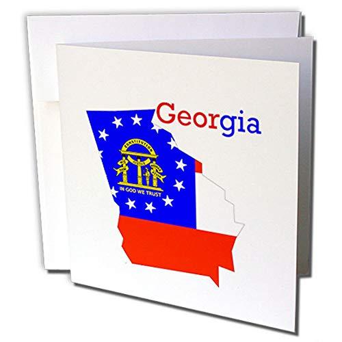 Georgien 12 (3dRose gc_245140_2 Grußkarten mit Motiv der Flagge Georgiens auf dem Staat, 15 x 15 cm, 12 Stück)