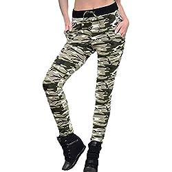 HARRYSTORE Mujer camuflaje pantalones de yoga Mujer pantalones elásticos y deportivos Leggings de entrenamiento Polainas para correr (XL, Verde)
