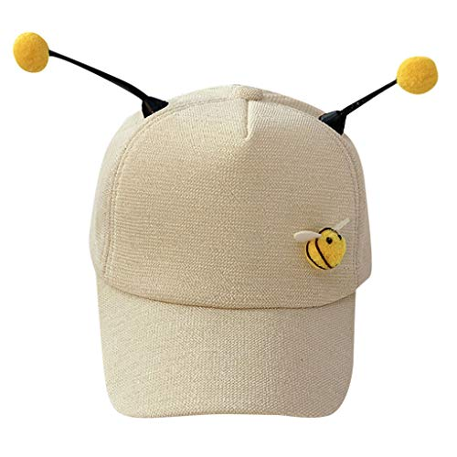 Scrolor Baseball Sonnenhüte für Kleine Jungen Baby Mädchen Kinder Sommer Einstellbare Hut Candy Farbe Bee Cap(Beige,Free)