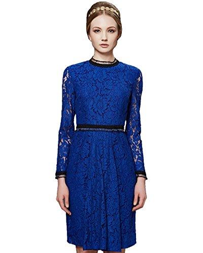 ASCHOEN Damen Spitzen Cocktailkleid Elegant Langarm Abendkleid Rundhals Schlanke Spitzenkleid Blau M